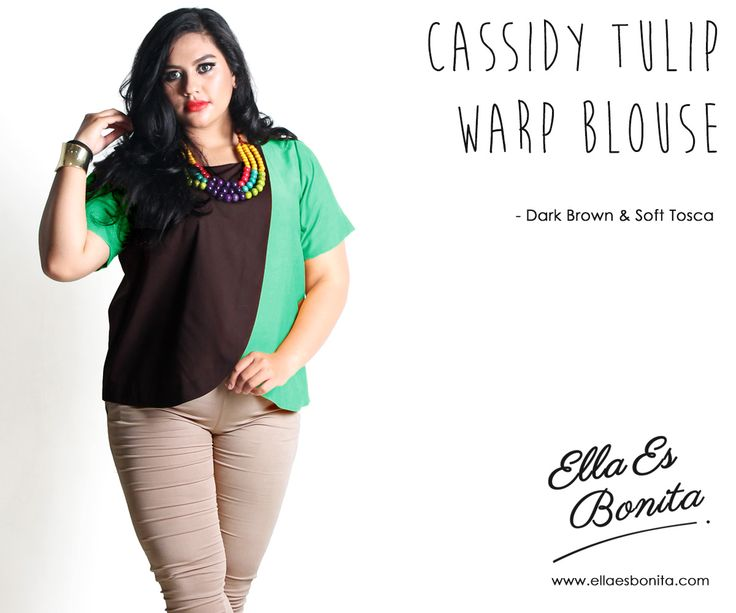 Cassidy Tulip Warp Blouse - This color blocking blouse features high quality cotton which specially designed for sophisticated curvy women originally made by Indonesian Designer & Local Brand: Ella Es Bonita. Available at www.ellaesbonita.com
