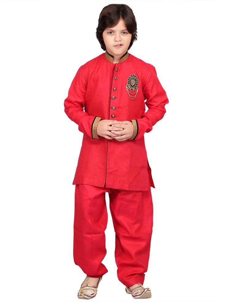 Red Cotton Solid Party Wear Pathani Suit