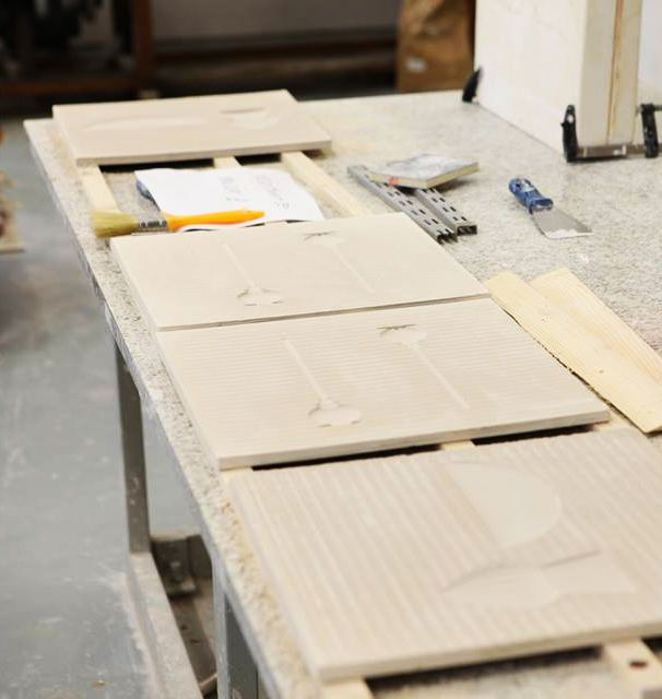 Our porcelain tiles waited for firing and glazing. Pairs In Squares will be possible to visit at Tokyo Design Week 2015.