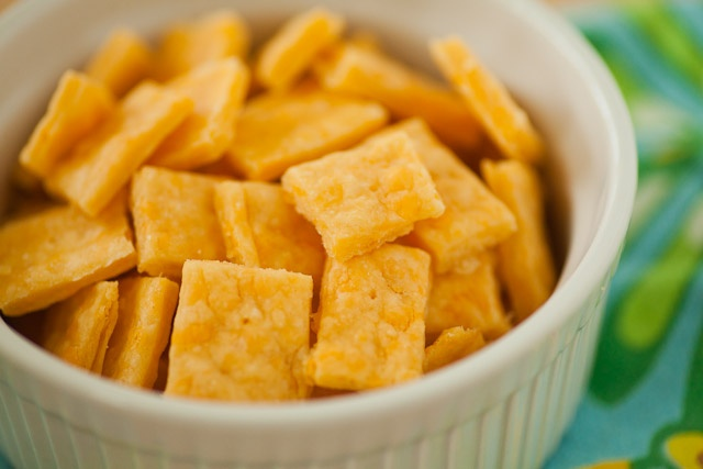 Homemade cheez-its...My son loved these