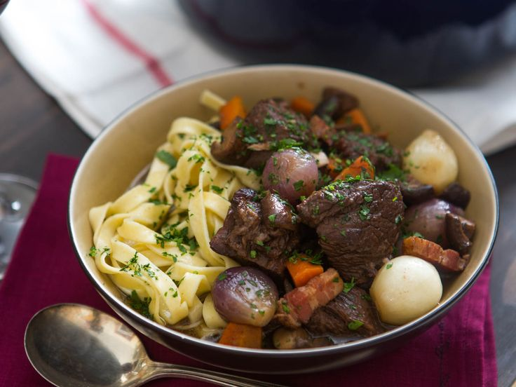 Beef Stew In Red Wine, With Bacon, Onions, And Mushrooms Recipe ...