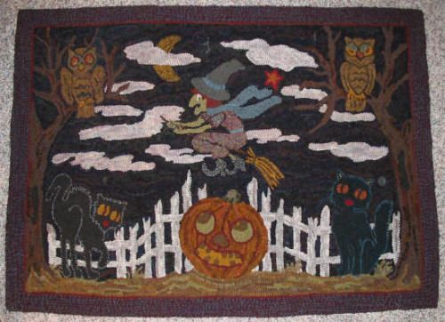 A Green Witch Hooked Rug