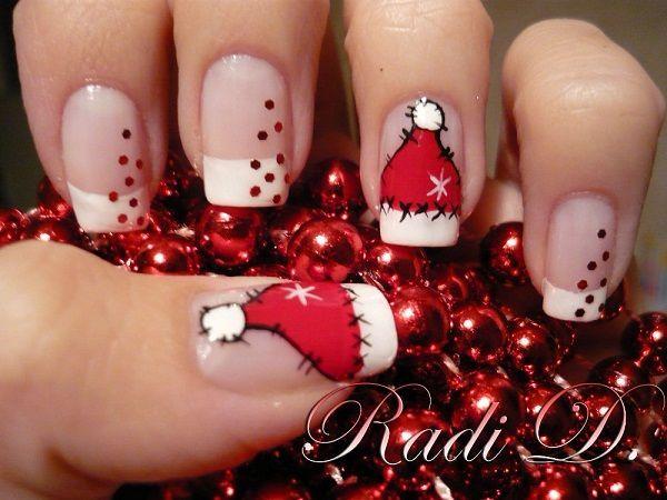 Cute Santa Hat Nail Art