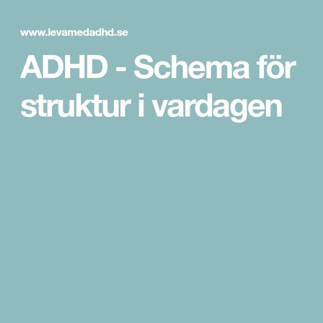 ADHD - Schema för struktur i vardagen