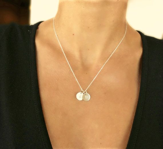 2 Initial Necklace .10mm Sterling Silver Disc by SoCoolCharms, €27.85
