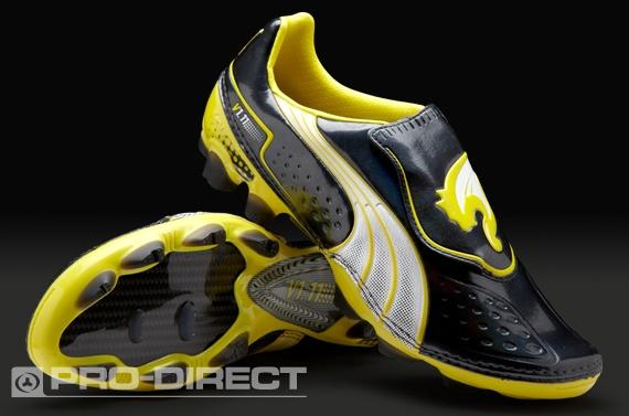 Puma Football Boots - Puma v1.11 FG - Firm Ground - Soccer Cleats - Black-White-Blazing Yellow