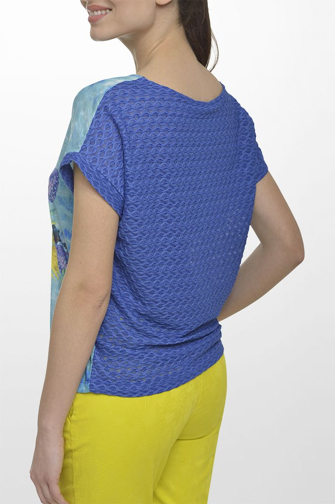 Sarah Lawrence - short sleeve printed blouse with combination of two fabrics, cropped jacquard straight leg pant.
