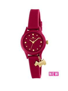 Radley Radley Watch It! Berry Dial With Dog Charm Berry Silicone Strap Ladies Watch