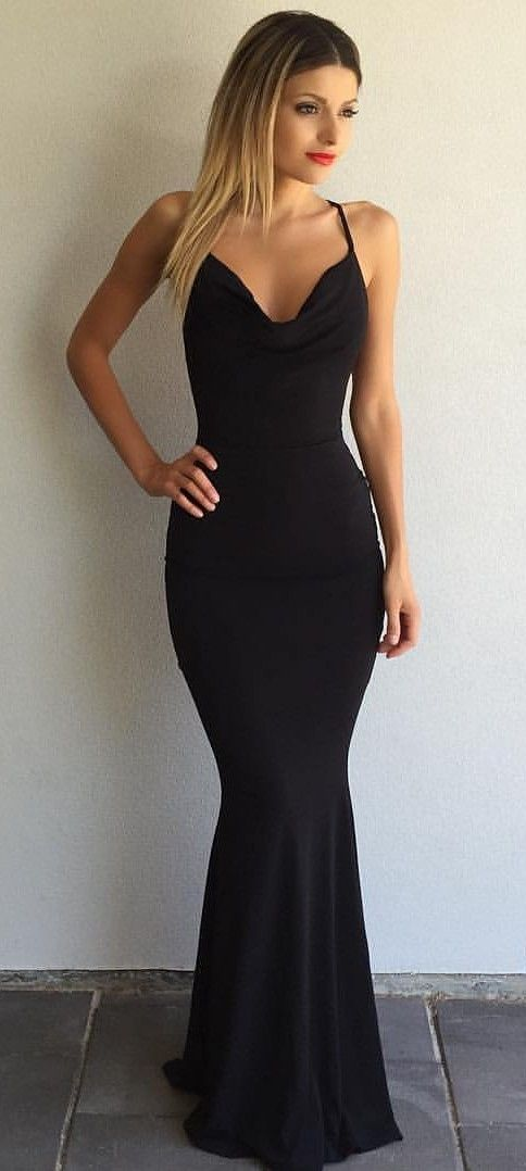 Simple Black Prom Dresses Crisscross Back Sexy Mermaid Evening Gowns