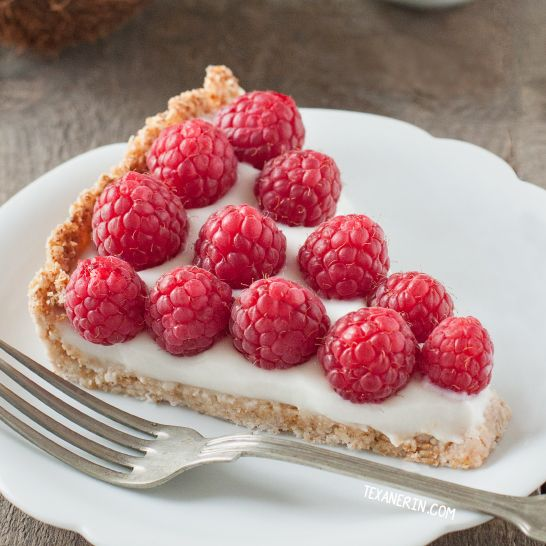 This paleo vegan raspberry coconut tart is incredibly simple to put together and is also grain-free, gluten-free and dairy-free.