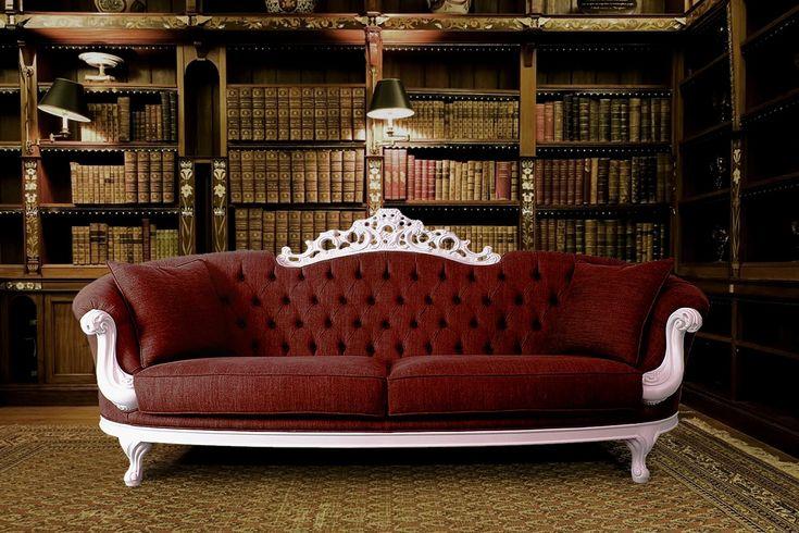 ELIZABETH - The Elegance wears in Denim Solid wood base sofa covered in original Denim