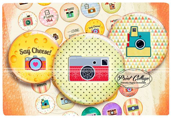 Check out Buttons Pinback Digital Printable Images for Button machine 1.313 inch Flatback Buttons Flair Buttons Clip art Vintage Camera b199 on printcollage