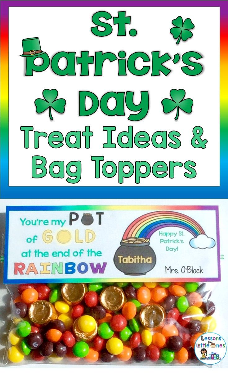 Ideas for St. Patrick's day student treats and snacks as well as St. Patrick's Day treat bag toppers and treat tags. Perfect for your classroom St. Patrick's Day party.