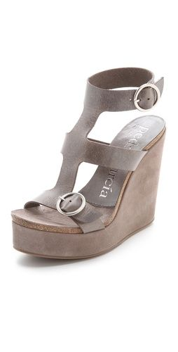Pedro Garcia Adriel Wedge Sandals. I like the colors, but I'd like them better without the strap that goes up the top of the foot.