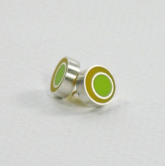 Resin Spot Silver Earrings in Yellow and Green