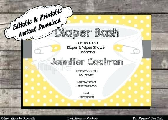 picture regarding Free Printable Diaper Party Invitations titled Exquisite Totally free Printable Diaper Occasion Invitation Templates And