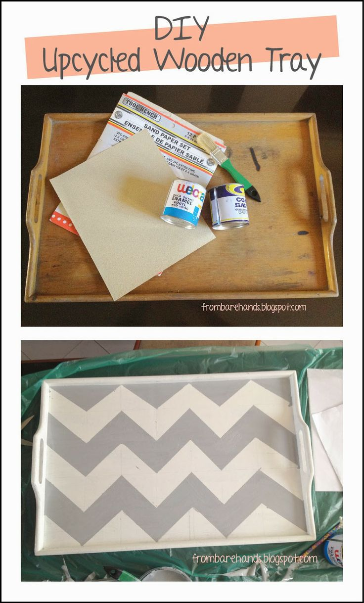 From Bare Hands: DIY: Upcycled Wooden Tray - Chevron Pattern