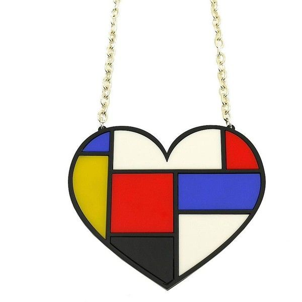 Mondrian Style Heart Statement Necklace ❤ liked on Polyvore featuring jewelry, necklaces, heart shaped necklace, multi layer necklace, heart pendant, heart shaped pendant necklace and layered necklaces