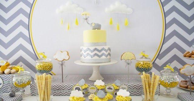 Baby Shower Amarillo y Gris, eventos para niños, catering para eventos infantiles