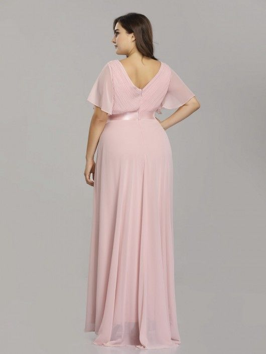 b4c276bbf04 Plus Size Long Empire Waist Evening Dress with Short Flutter Sleeves   EverPretty  bridesmaid