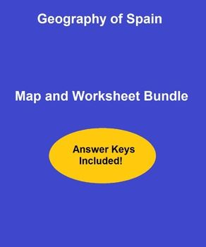 Geography of Spain Map and Worksheet Package - This worksheet bundle features resources for teaching and learning about the geography of Spain. It includes crossword puzzles, word search activities, matching page quizzes, map and reading handouts and more. Answer keys are included as well for teacher support.   #worksheets #vocabulary #printables