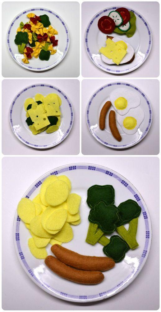 Filz Felt Food Spiegelei, Kartoffeln, Brokkolie, Würstchen, Nähen, BAsteln, selber, machen, Anleitung, Kinderküche, Kaufmannsladen