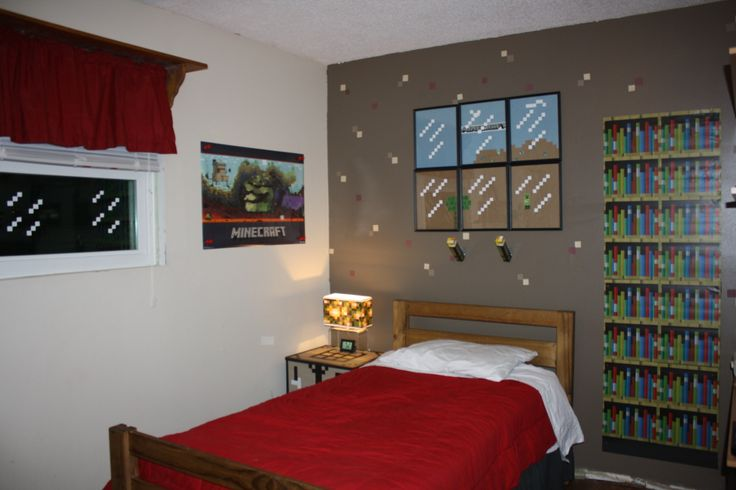 The most awesome Minecraft bedroom makeover. One wall painted brown with punched…