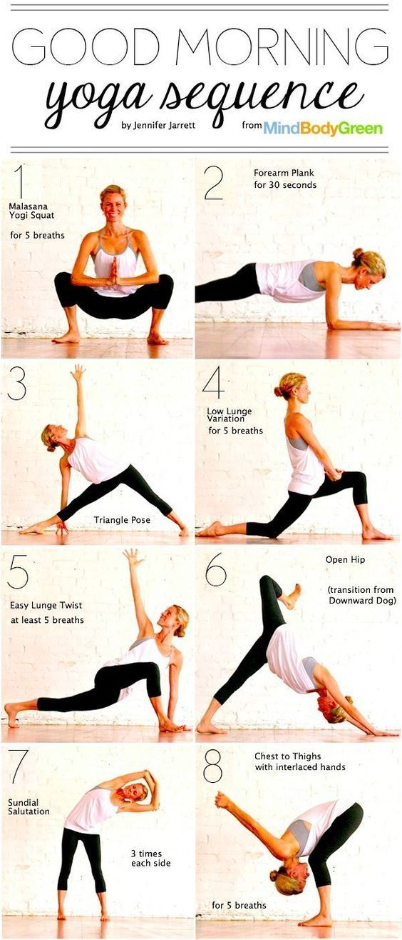 short morning yoga sequence pictogram and detailed instructions article