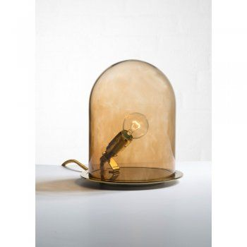 Unusual Table Lamp with Bulb in Brown Dome Shaped Glass Shade
