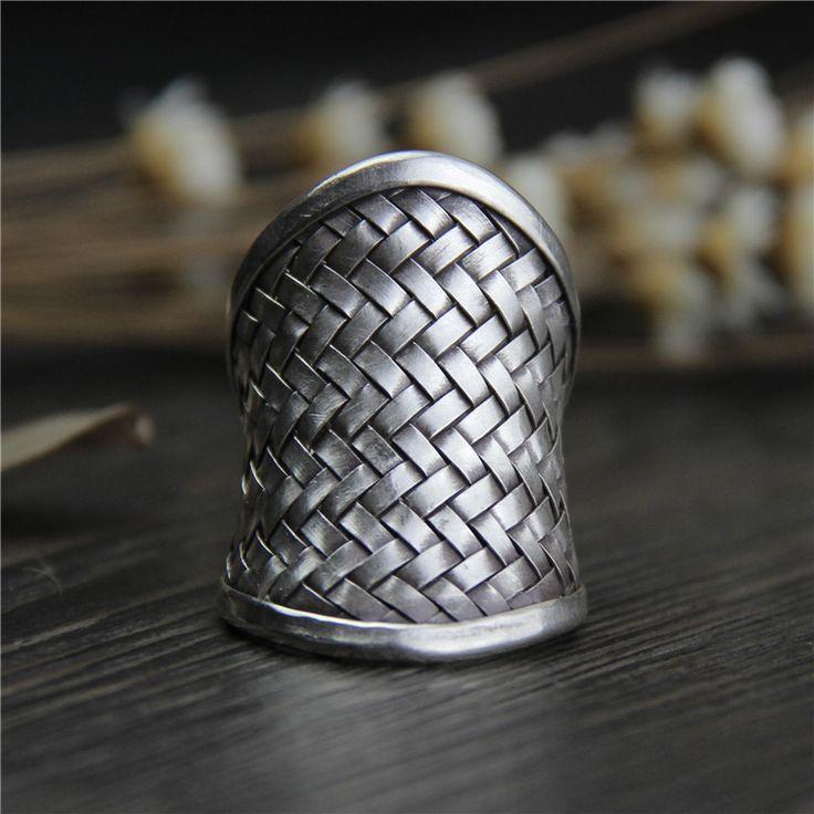 Silver Qi Ms Chiang Mai, Thailand Silver Braided Rings Men Do Old Silver Restoring Ancient Ways Ring(China (Mainland))
