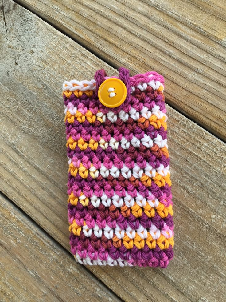 Crochet iPhone Phone Case, Multicolored Phone Case, Smartphone Cover, cell phone case, cell phone cover, ipod case, buttoned case by TheHookster on Etsy