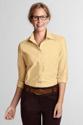 Women's Long Sleeve Straight Collar Oxford Sportshirt from Lands' End $25