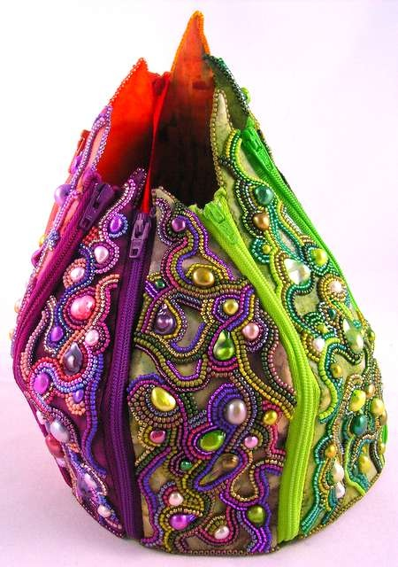 beaded textile bag