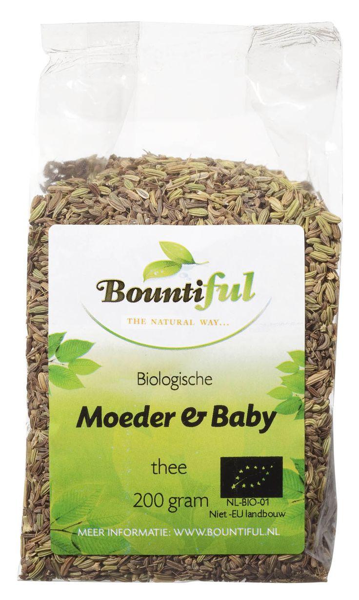 Moeder en Baby thee Bio. Moeder en Babythee heeft een heerlijke milde smaak en een kalmerende werking. De thee komt de melkproductie van de kersverse moeder ten goede en is daarom ideaal voor moeder en kind.   Gebruik 6-8 theelepels thee op 1 l kokend water en laat 8-10 minuten trekken. Afhankelijk van uw persoonlijke voorkeur, wilt u misschien een sterkere of slappere thee.