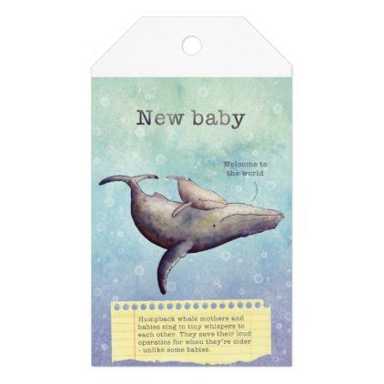 Adorable mother and baby whale. New baby card. Gift Tags - baby gifts giftidea diy unique cute