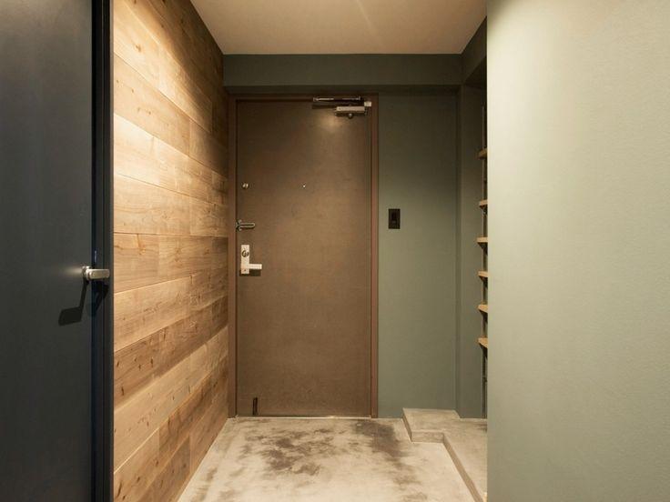 玄関、土間、杉、古材、壁塗装、DIY