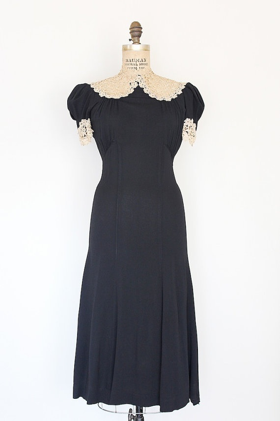 vintage 1930s dress // 30s black and cream lace dress // by TrunkofDresses