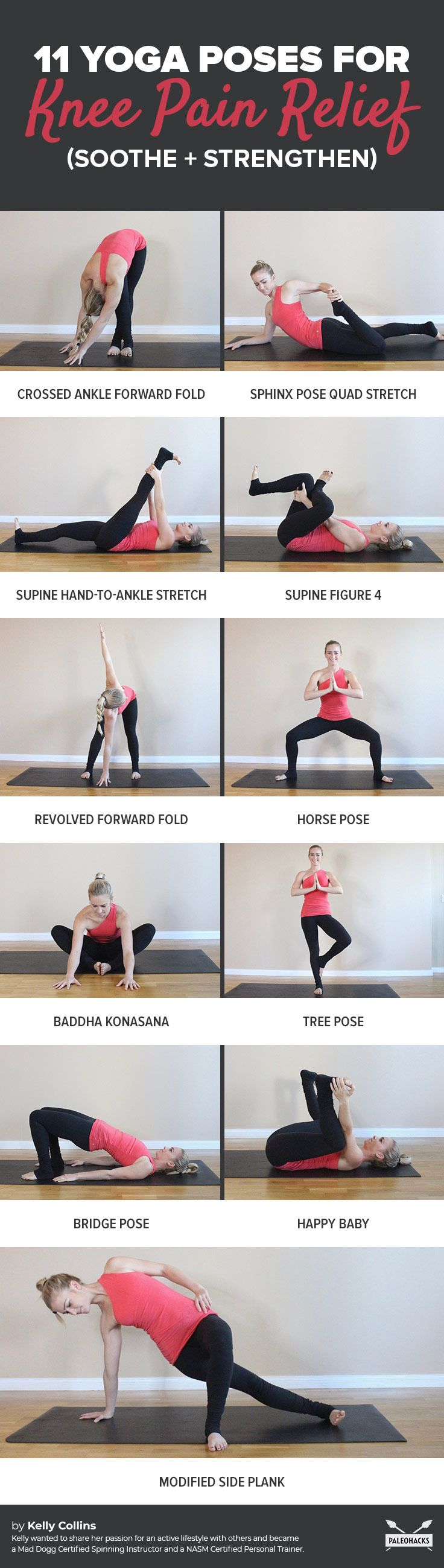 Suffering from achy, painful knees? Try these soothing yoga poses to strengthen your knees and melt away pain. Get all exercises here: http://paleo.co/kneepainyoga