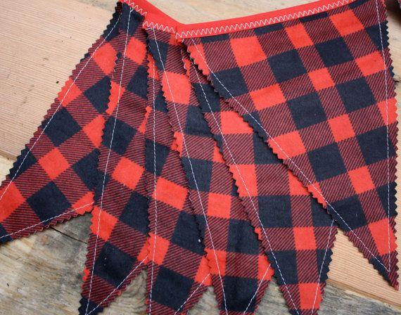 Lumberjack Party, Lumberjack Pennant Flags, Lumberjack Banner,  Fabric Bunting Buffalo Plaid, Lumberjack Birthday Photo Prop Backdrop