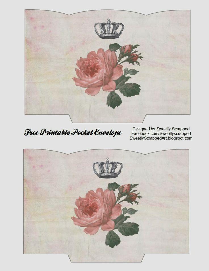 free printable rose and crown pocket envelope