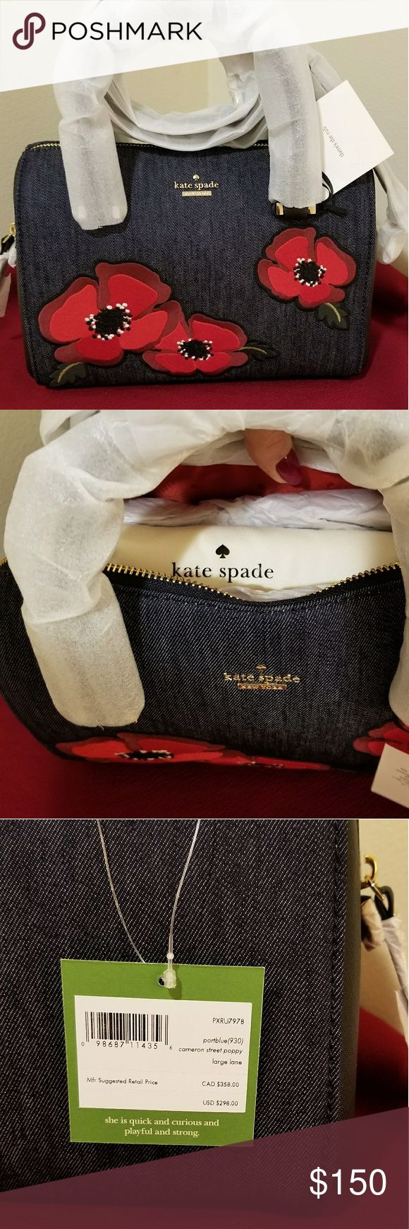 """KATE SPADE 2017 Cameron Street Poppy Satchel Brand new with tags - 2017 Large Lane Cameron Street Poppy satchel. Comes in original packaging and includes original Kate Spade dust bag inside. Original price $298.00. Gorgeous purse, perfect for Spring! Great gift for someone you love or for yourself :) Please message me if you have any questions!  SIZE  -10.5 w x 6.9 h x 4.5 d -3.6"""" leather handle, 20"""" adjustable leather strap  MATERIAL  -denim with leather trim   DETAILS  -satchel with ziptop…"""