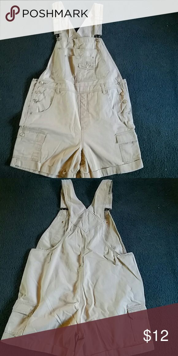 SALE!! Plus size overalls shorts 18W Tan overall shorts sz 18W. Took a picture of the tiny stain. Everything else is perfect on this article of clothing. xhileration Jeans Overalls