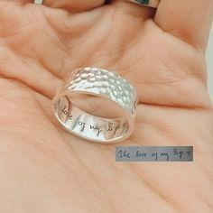 Personalized Promise Ring with your Actual Handwriting by JewelryRB