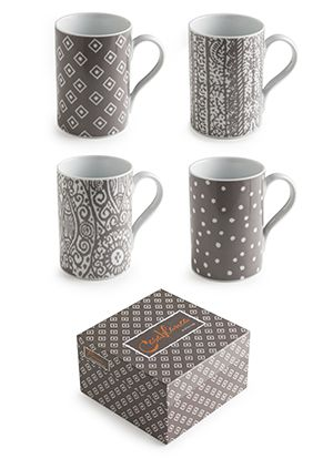 Rosanna Casablanca Set of 4 Mugs in Gift Box - Showcase a hearty fall meal or harvest celebration with the soulful Moroccan woodblock prints of Casablanca.    Set of 4 assorted mugs in a gift box. Made of Porcelain Dishwasher and microwave safe.