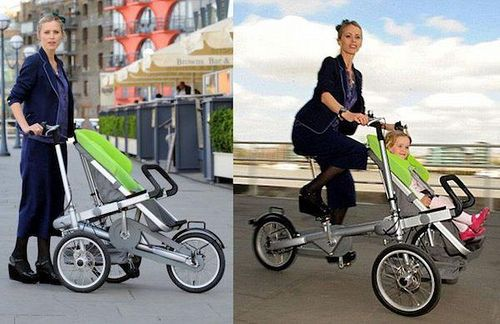 bike becomes stroller to merge best transport modes via greatergreaterwashington.org  @Jaclyn, I could so see you with this.