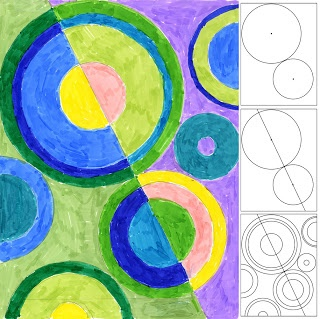 Use circles, then have students draw many other lines all over the paper. Students will then color. Would be good when students finish early.