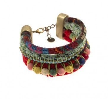 Rope bracelet with Swarovski strasses and beads, by Art Wear Dimitriadis -Handmade-
