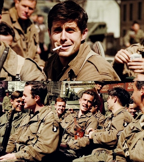 Oooklahoma...haha aww Band of Brothers. It took me forever to be persuaded to watch it and even then it was half because I saw Michael Fassbender had a part. Then I fell in love. With the characters, with the story, with the real band of brothers...with everything. HBO.