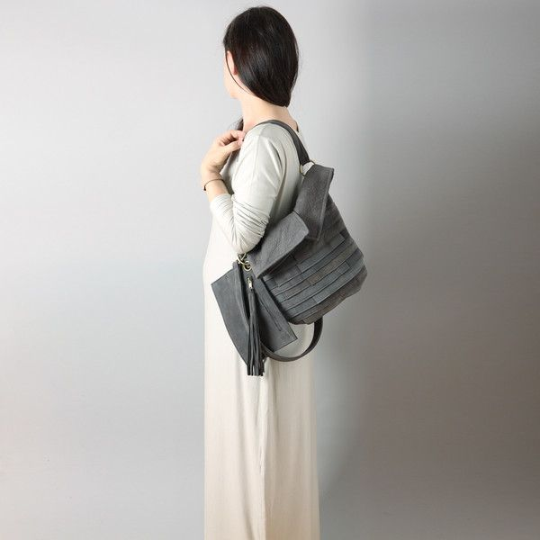 Borse a tracolla - LIL TUULI Leather hobo bag in grey colour  - un prodotto unico di RARAMODO su DaWanda
