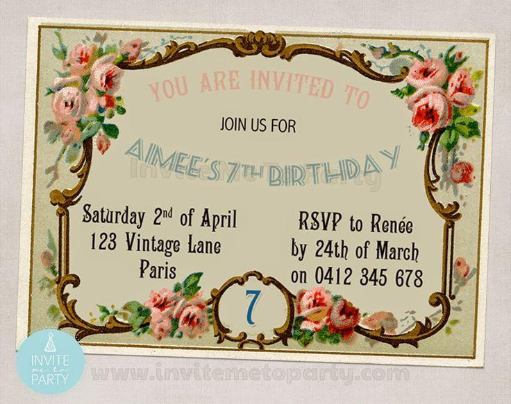 Parisian Party  Invite Me To Party: Vintage Invitation / Shabby Chic Invitation